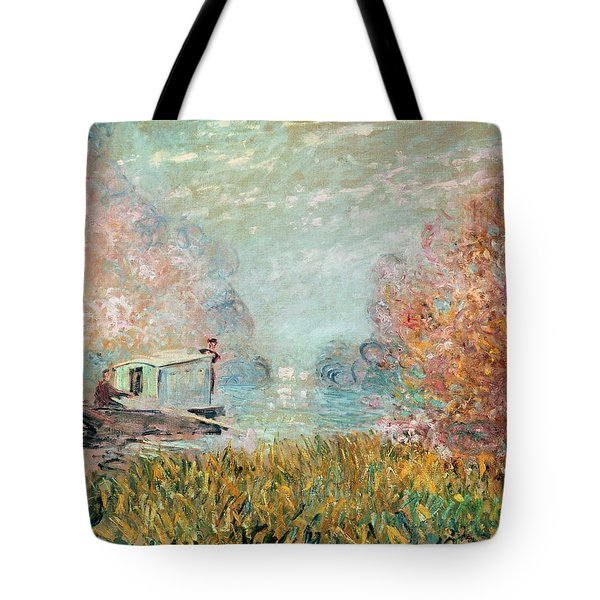 The Boat Studio On The Seine Tote Bag by Claude Monet