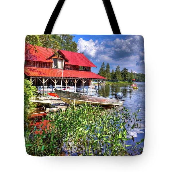 Tote Bag featuring the photograph The Boathouse At Covewood by David Patterson