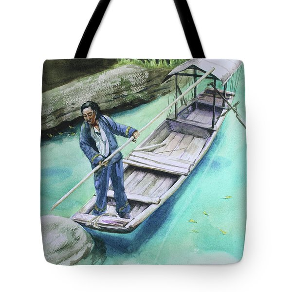 Tote Bag featuring the painting The Boatman by Kris Parins