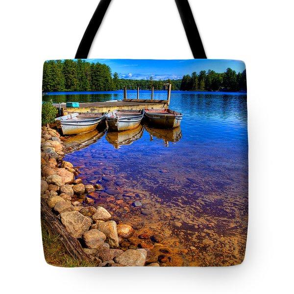 The Boats On White Lake Tote Bag