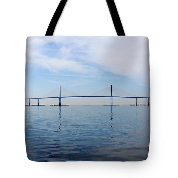 The Bob Graham Sunshine Skyway Bridge Tampa Bay Tote Bag by Louise Heusinkveld
