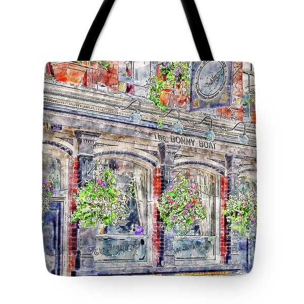 Tote Bag featuring the digital art The Bonny Boat An Historic English Pub by Anthony Murphy