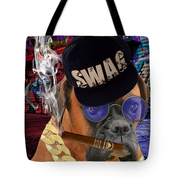 Tote Bag featuring the mixed media The Boss Boxer by Marvin Blaine