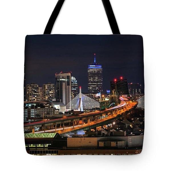 The Boston Skyline Boston Ma Full Zakim Tote Bag
