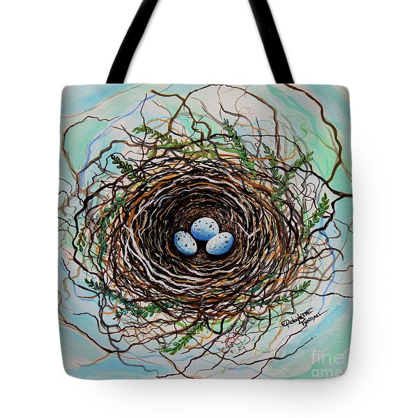 The Botanical Bird Nest Tote Bag by Elizabeth Robinette Tyndall