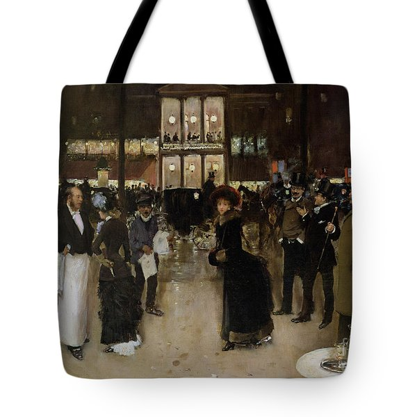 The Boulevard At Night Tote Bag by Jean Beraud