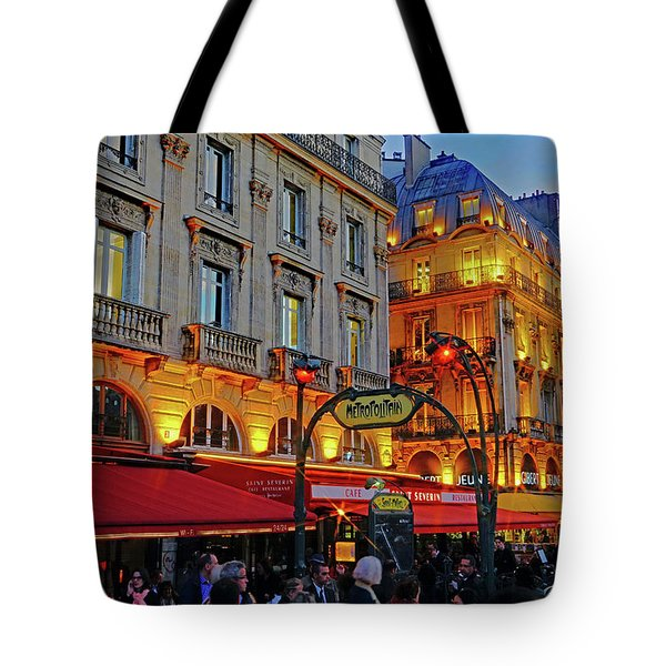 The Boulevard Saint Michel At Dusk In Paris, France Tote Bag by Richard Rosenshein