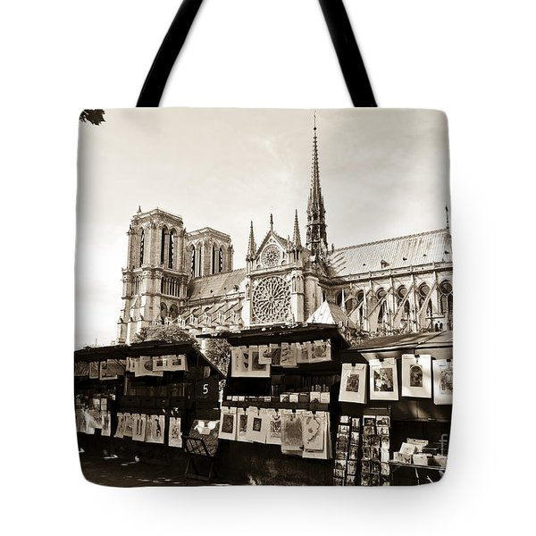 The Bouquinistes And Notre-dame Cathedral Tote Bag