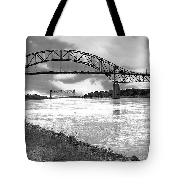 Tote Bag featuring the photograph The Bourne And Railroad Bridges by Michelle Wiarda