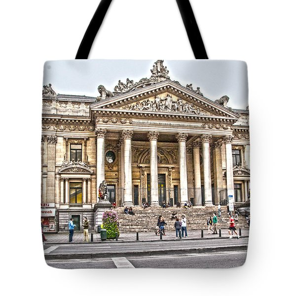 Tote Bag featuring the photograph The Bourse In Brussels by Pravine Chester