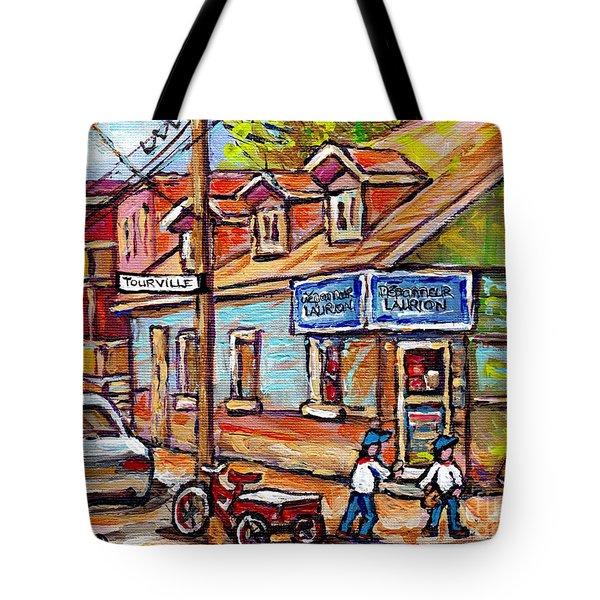 The Boys Of Summer Montreal Expo Baseball Paintings St Henri Depanneur Best Canadian Original Art  Tote Bag