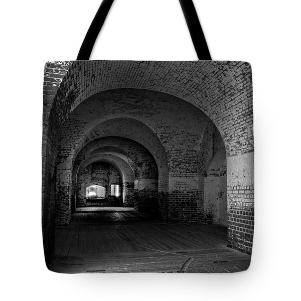 The Bricks Of Fort Pulaski In Black And White Tote Bag