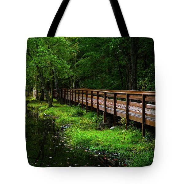 Tote Bag featuring the photograph The Bridge At Wolfe Park by Karol Livote