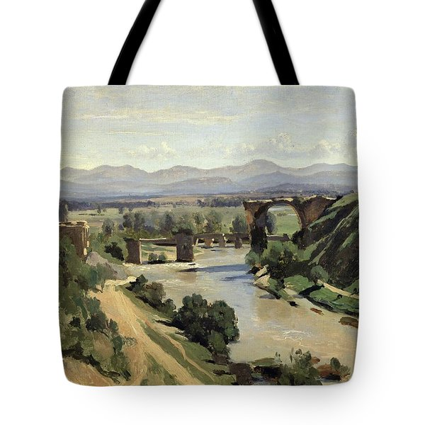 The Bridge Of Augustus Over The Nera Tote Bag by Jean Baptiste Camille Corot
