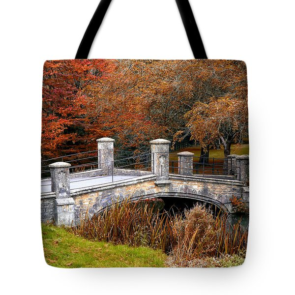 Tote Bag featuring the photograph The Bridge To Autumn By Mike Hope by Michael Hope
