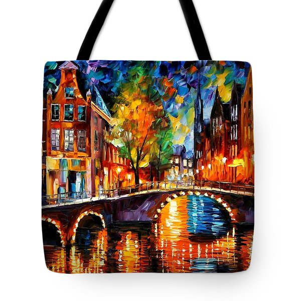 The Bridges Of Amsterdam Tote Bag by Leonid Afremov