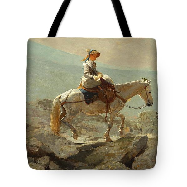 Tote Bag featuring the painting The Bridle Path, White Mountains - 1868 by Winslow Homer