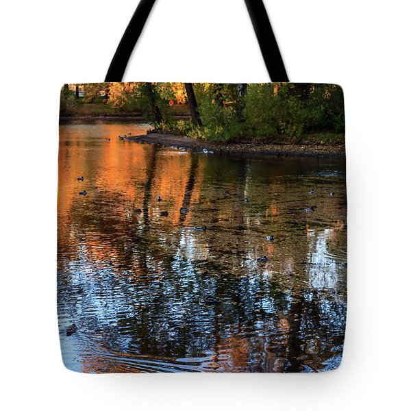 The Bright Colors Of Autumn, Quiet Evenings Are Reflected In The Waters Of The City Pond Tote Bag