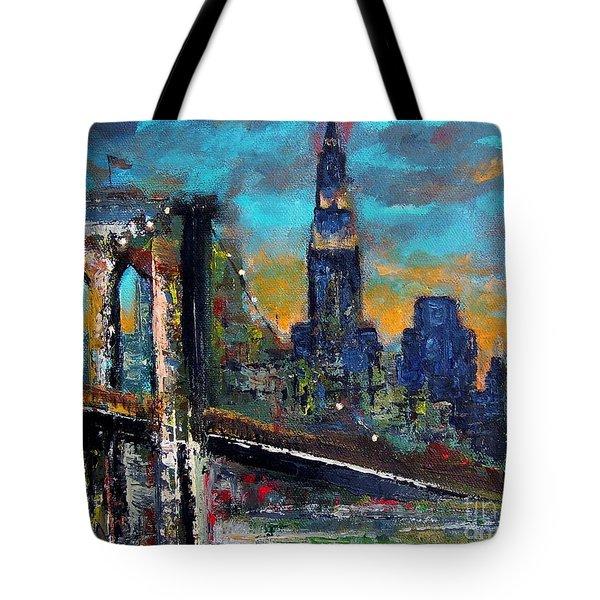 The Brooklyn Bridge Tote Bag by Frances Marino