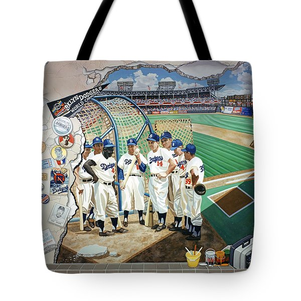 The Brooklyn Dodgers In Ebbets Field Tote Bag