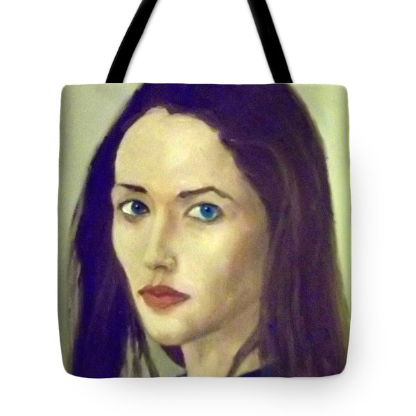 The Brunette With Blue Eyes Tote Bag