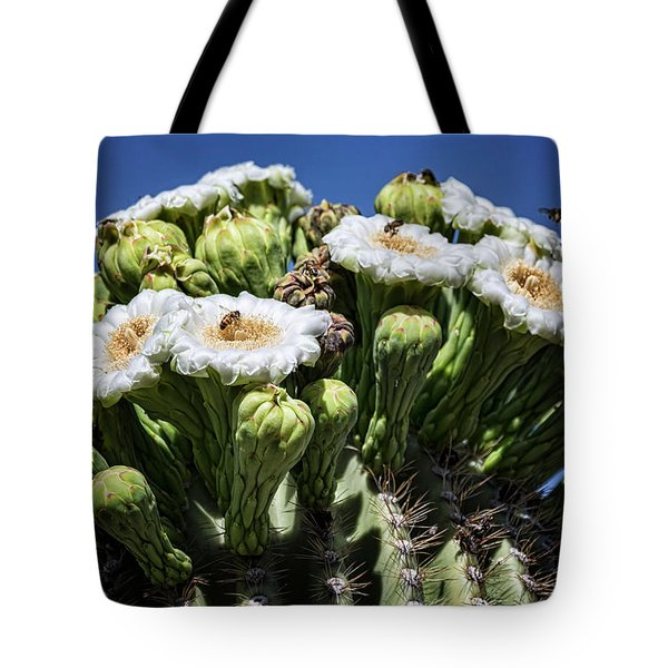 Tote Bag featuring the photograph The Busy Little Bees On The Saguaro Blossoms  by Saija Lehtonen