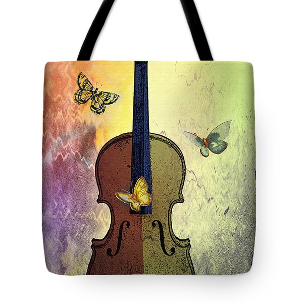 The Butterflies And The Violin Tote Bag by Bill Cannon