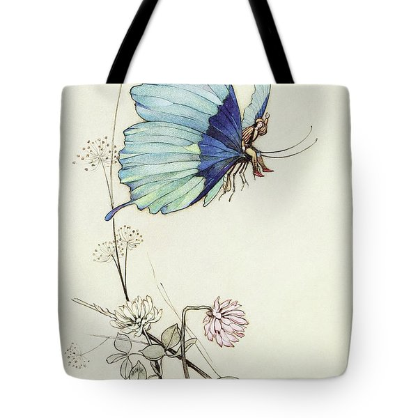 The Butterfly Took Wing, And Mounted Into The Air With Little Tom Thumb On His Back Tote Bag