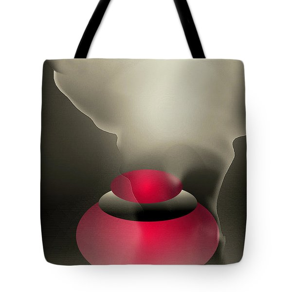 Tote Bag featuring the digital art The Button--  Something To Think About by John Krakora