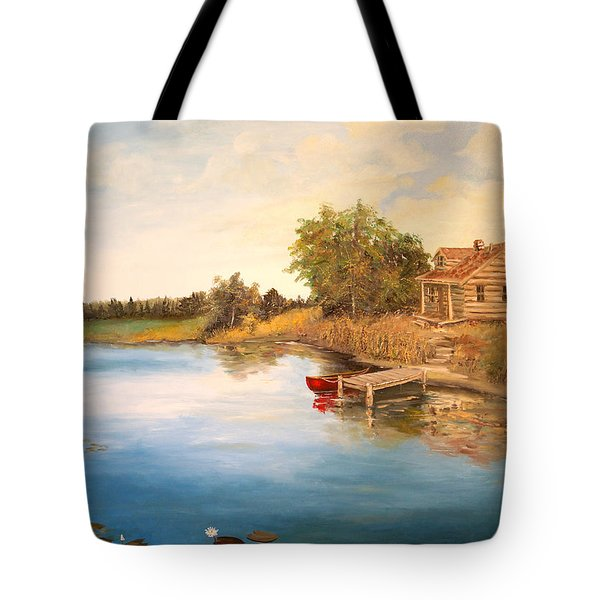 Tote Bag featuring the painting The Cabin by Alan Lakin