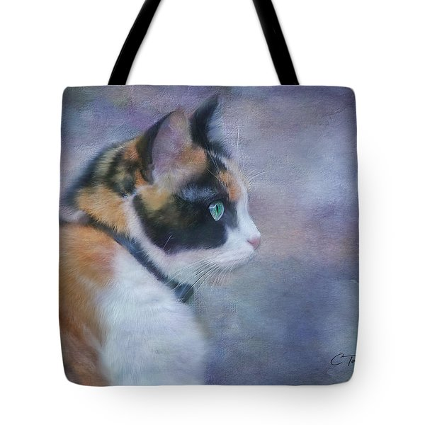 Tote Bag featuring the digital art The Calico Staredown  by Colleen Taylor