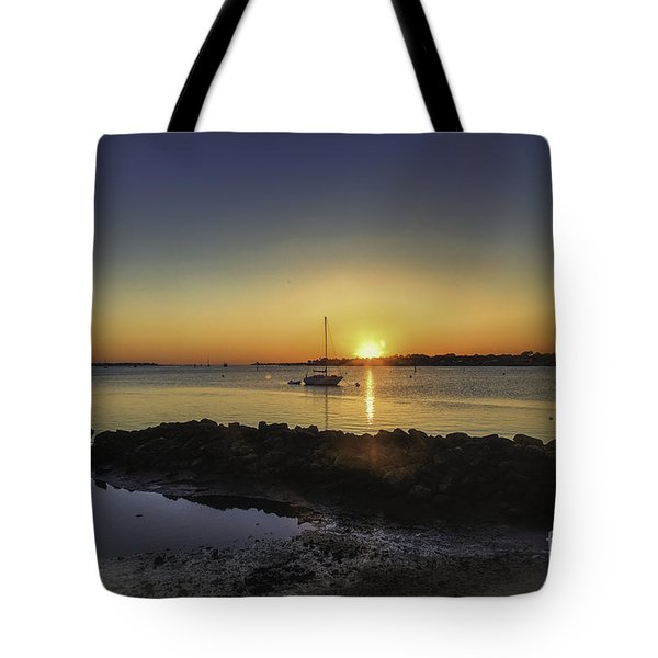The Calm At Sunrise Tote Bag by Mary Lou Chmura
