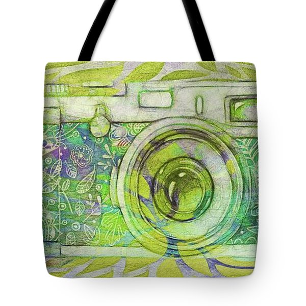 Tote Bag featuring the digital art The Camera - 02c5bt by Variance Collections