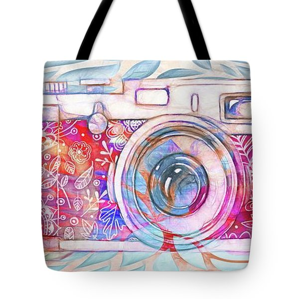 Tote Bag featuring the digital art The Camera - 02c8v2 by Variance Collections