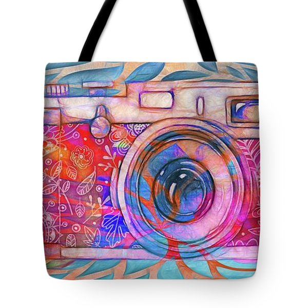 Tote Bag featuring the digital art The Camera - 02v2 by Variance Collections