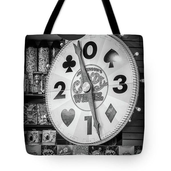 The Candy Wheel Point Pleasant Boardwalk Black And White Tote Bag