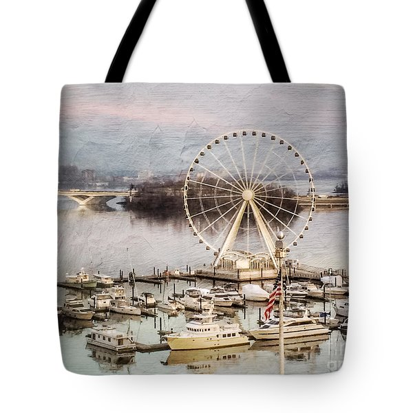 The Capital Wheel At National Harbor Tote Bag