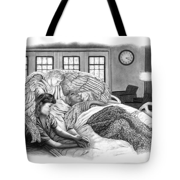 Tote Bag featuring the drawing The Caregiver by Peter Piatt