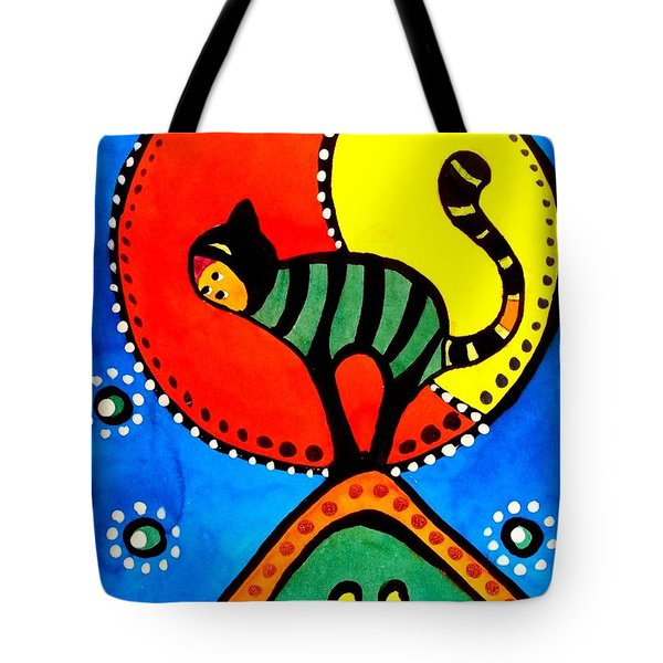 The Cat And The Moon - Cat Art By Dora Hathazi Mendes Tote Bag by Dora Hathazi Mendes