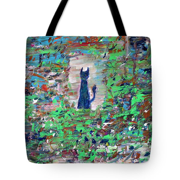 Tote Bag featuring the painting The Cat In The Garden by Fabrizio Cassetta