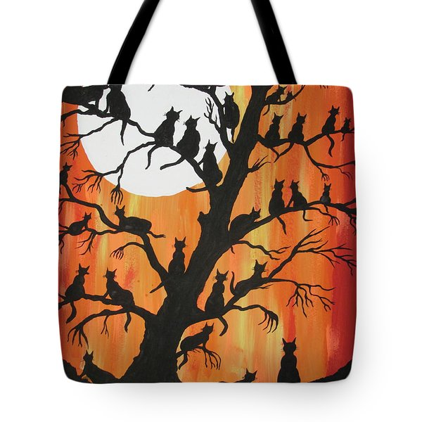 The Cats On Night Watch Tote Bag