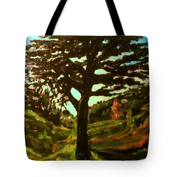 The Cedar Tree Against The Blue Tote Bag