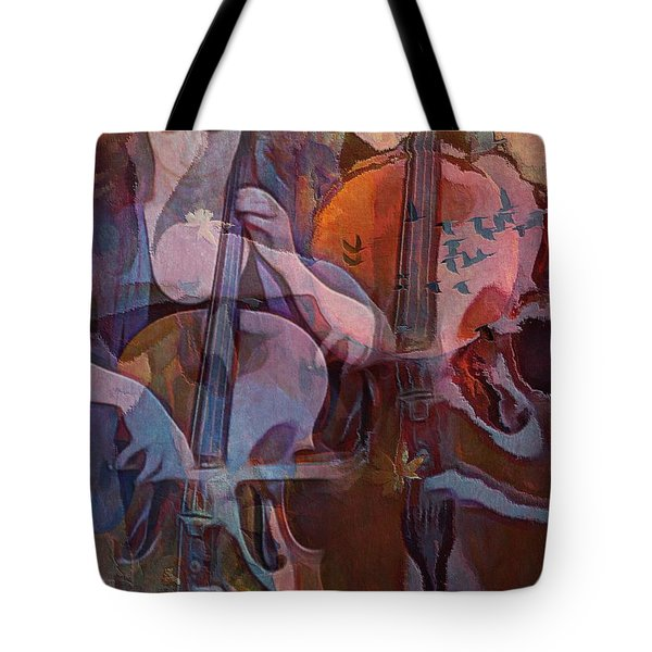 Tote Bag featuring the digital art The Cellist by Alexis Rotella