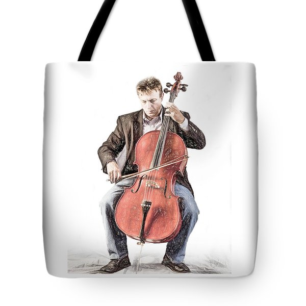 Tote Bag featuring the photograph The Cello Player In Sketch by David and Carol Kelly