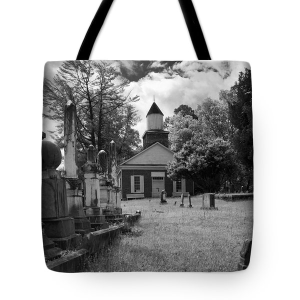 The Cemetery At Harshaw Chapel In Black And White Tote Bag