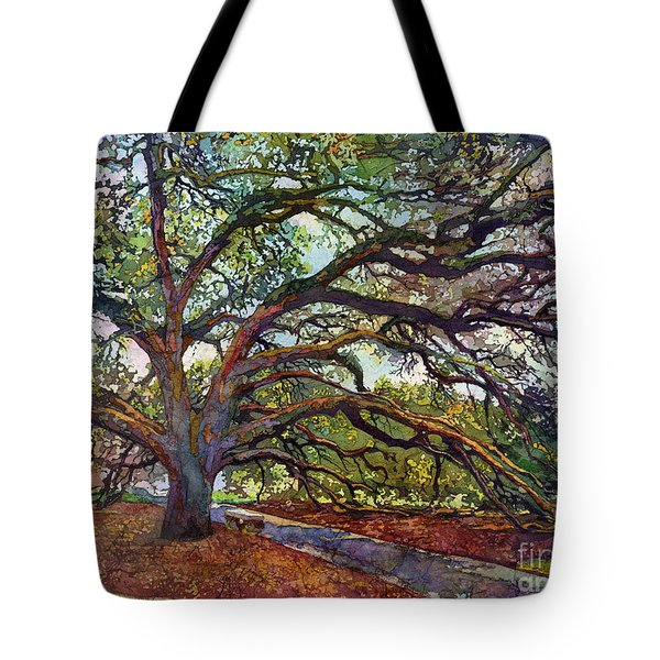 Tote Bag featuring the painting The Century Oak by Hailey E Herrera