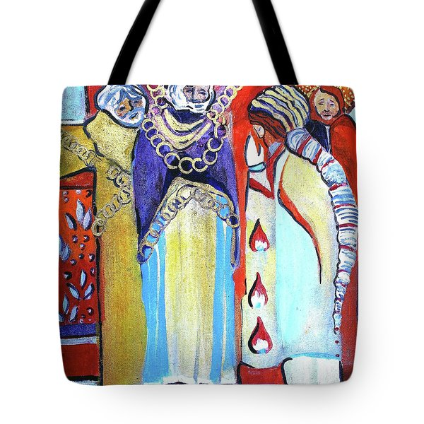 Tote Bag featuring the painting The Chains That Bind Us To Christ by Mindy Newman
