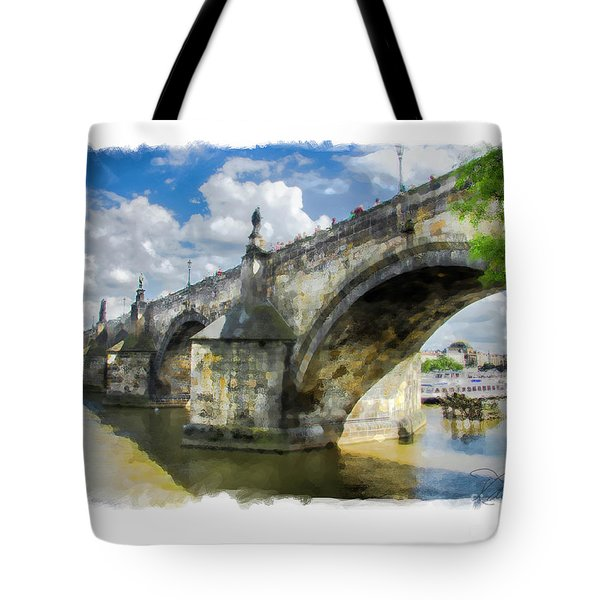 The Charles Bridge - Prague Tote Bag by Tom Cameron