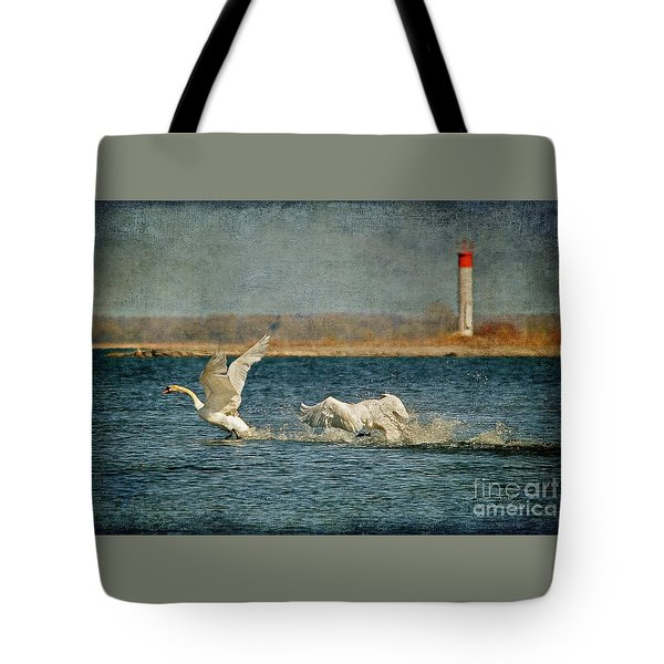 The Chase Is On Tote Bag by Lois Bryan