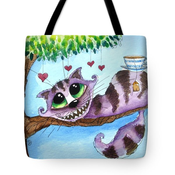 The Cheshire Cat - Tea Anyone Tote Bag by Lucia Stewart